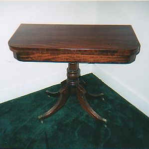 Sheraton Mahogany Game Table Beautifully Tooled Leather Top, Some Inlay,  Original.